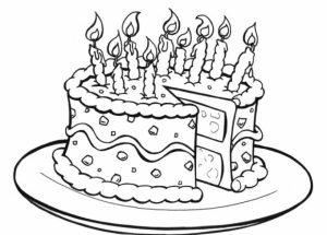 Online Birthday Cake Coloring Pages   60096