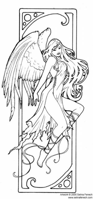 Printable Hard Coloring Pages of Angel for Grown Ups   EC6G7