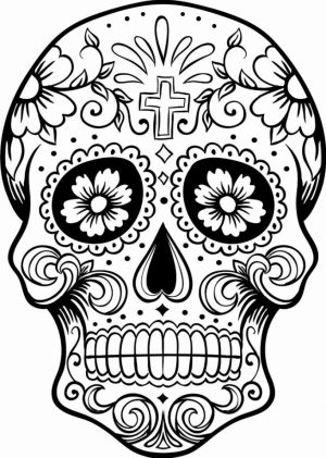 Sugar Skull Coloring Pages for Grown Ups   24281