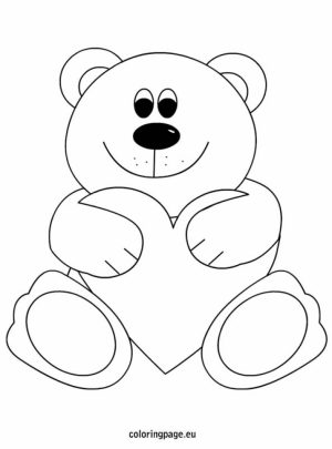 teddy bear with heart coloring pages   71846
